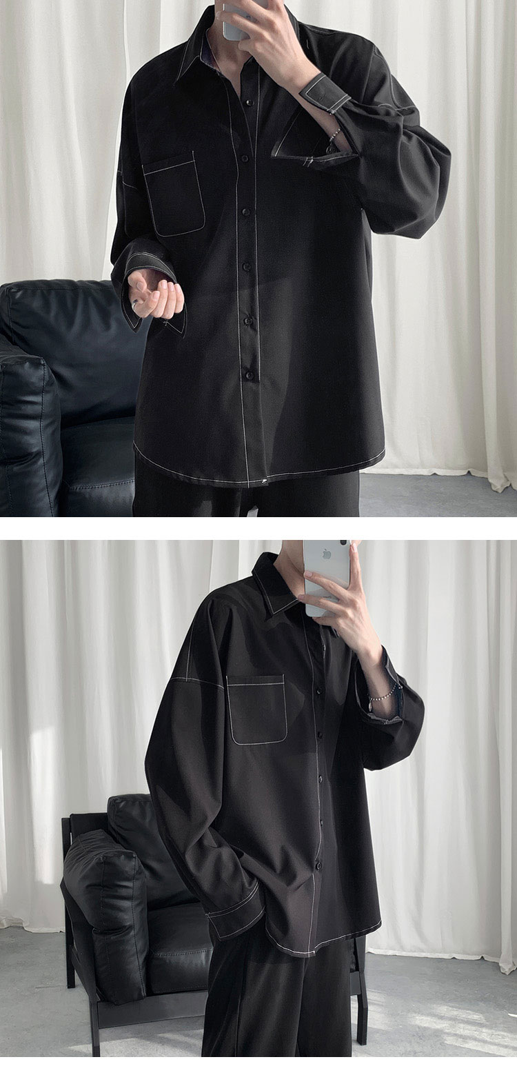 2019 Fashion Men Shirt Long Sleeve Korean Style Ulzzang Topstitched Design Solid  Street Wear Men Shirts