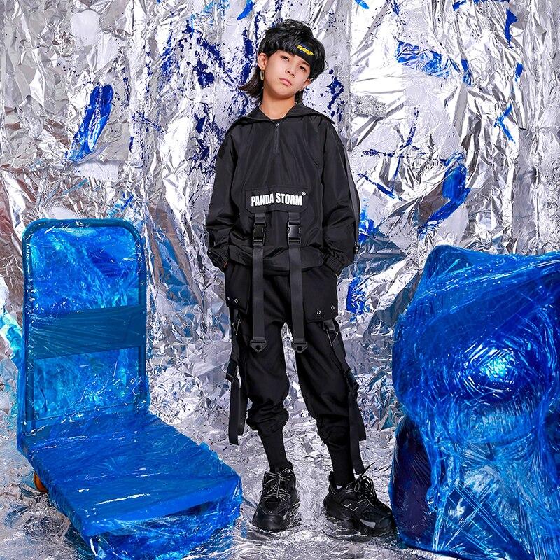 Hip Hop Dance Costumes Children Balck Top Pants Street Dancing Clothing Boys Girls Jazz Performance Wear Stage Outfit DN5003