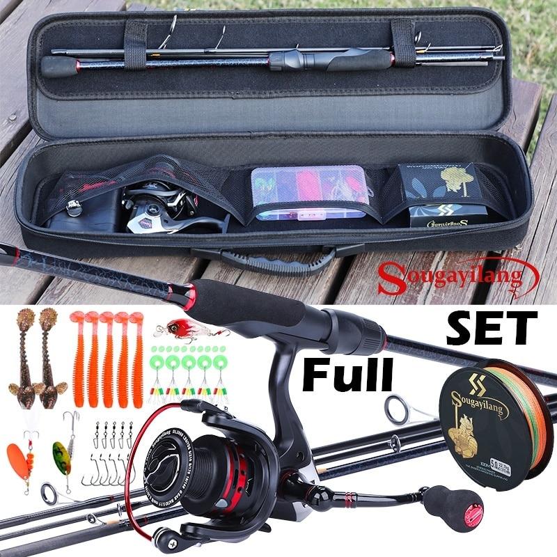 Sougayilang Portatile Canna Da Pesca Set Canna Da Pesca In Carbonio e 13 + 1BB Bobina di Filatura di Pesca e la Linea Sacchetto di Accessori Per la Pesca
