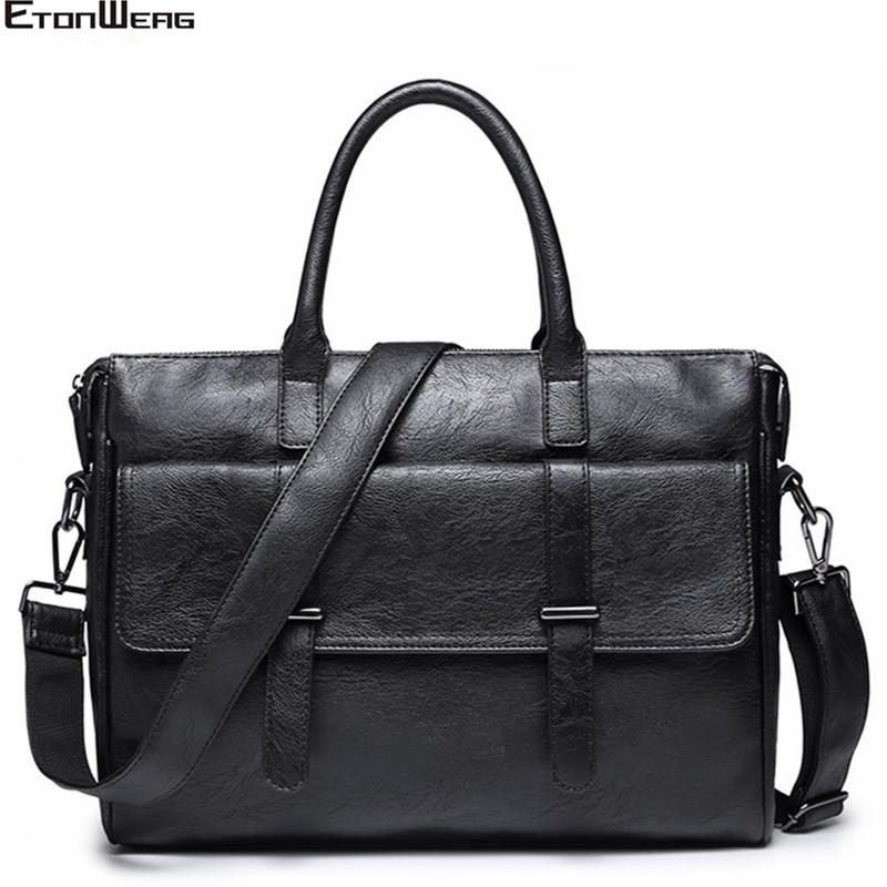 Men's Business Office Briefcase Brand Leather Handbag Designer Computer Laptop Bag Solid Casual Shoulder Bags Large Black Tote