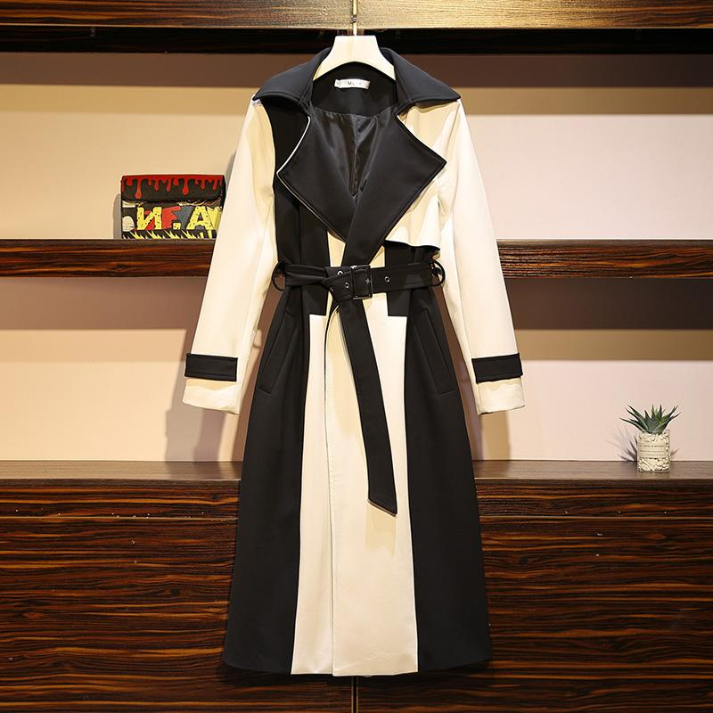 2020 Large Size Women's Spring Autumn New Long Trench Coat British Style Fashion Was Thin Temperament Windbreaker Overcoat N1163