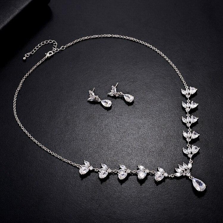 Ensembles de bijoux de dames de mariage de mode de goutte d'eau pour les femmes plein Pave cristal Zircon boucles d'oreilles colliers ensemble bijoux - 3