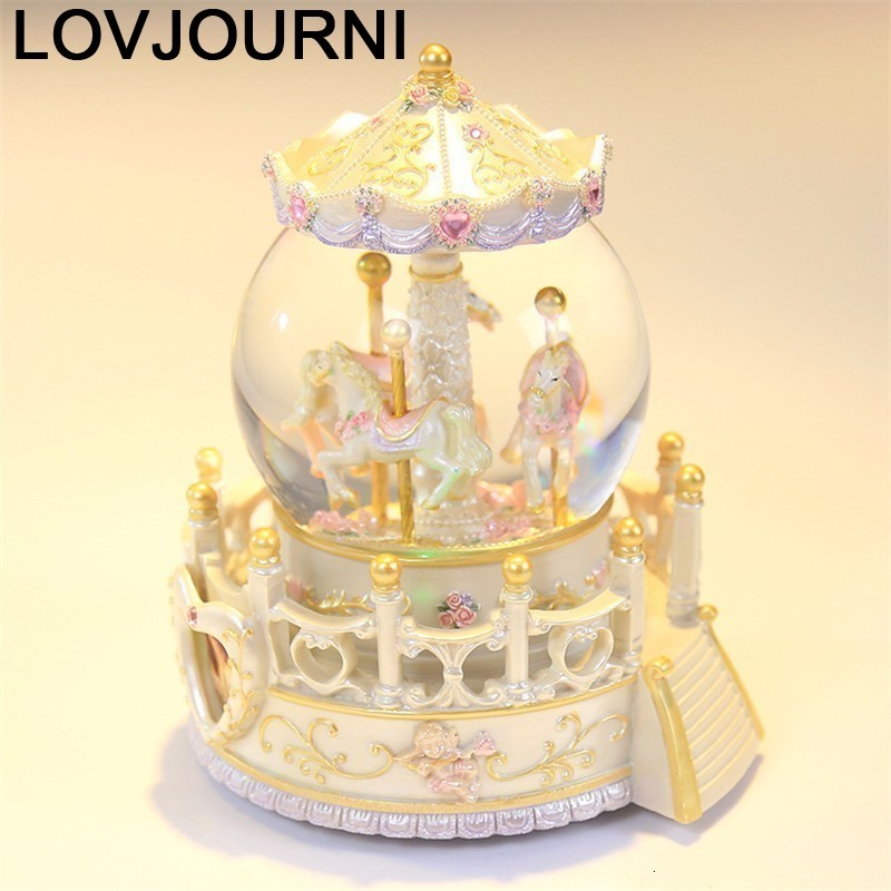 Karuzela Pozytywka Home Decoration Accessories Carrusel Snow Globe De Musica Boite A Musique Carousel Caja Musical Music Box