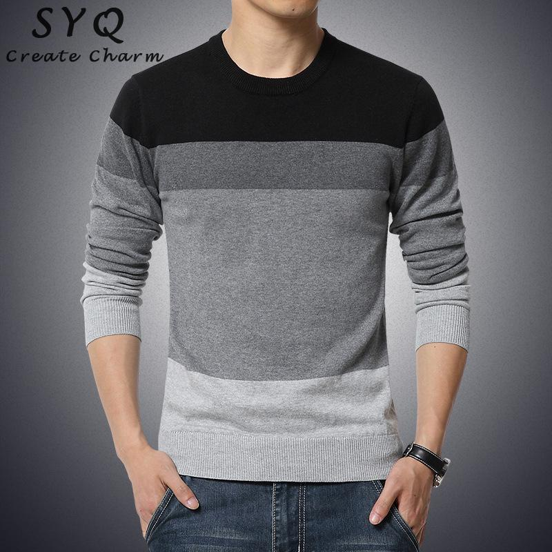 Brands 2019 Autumn Casual Men's Sweater O-neck Striped Slim Fit Knittwear Mens Sweaters Pullovers Pullover Men Pull Homme M-3XL