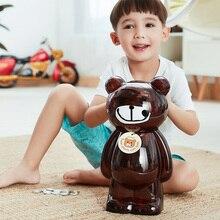 Копилка для монет, сейф для детей, прозрачная копилка, копилка для денег, пластиковая коробка для сохранения депозита, упаковка для подарка с медведем для детей AP1096