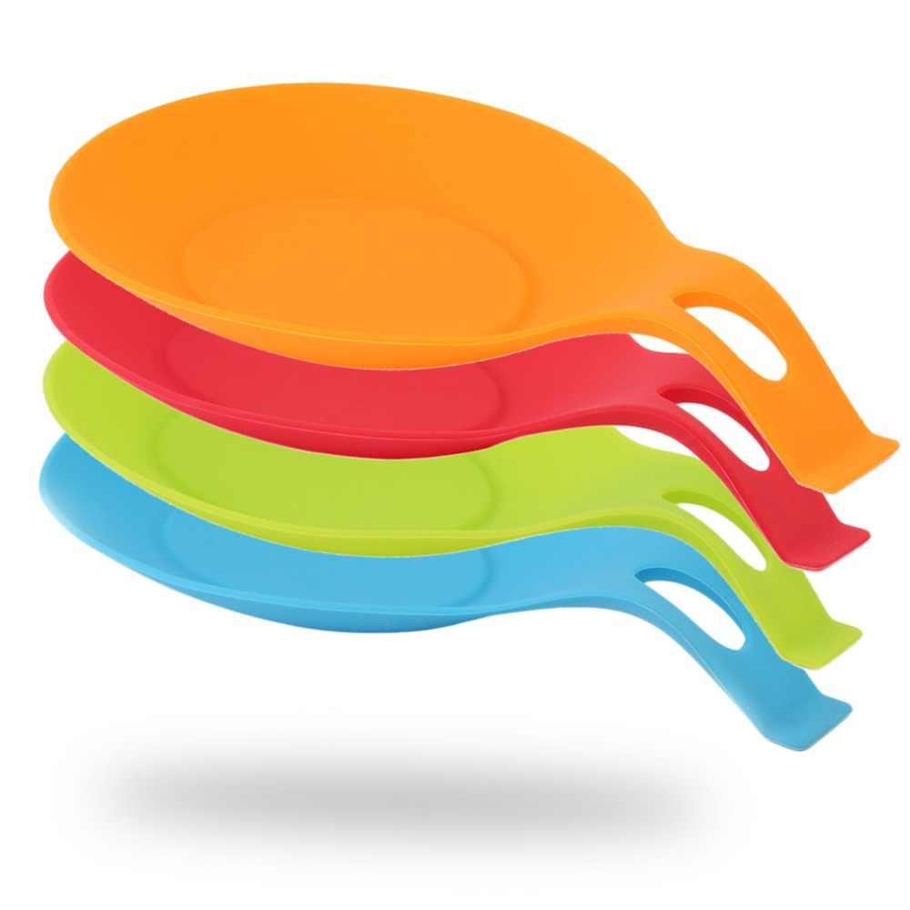 2018 nuevo soporte de espátula de utensilios de cocina resistente al calor para reposacuchara de silicona herramienta de cocina