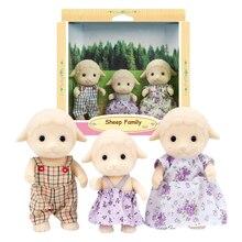 S01 Sylvanian Families кукольный домик пушистые фигурки семья овец 3 шт. игрушки животных куклы девочка подарок