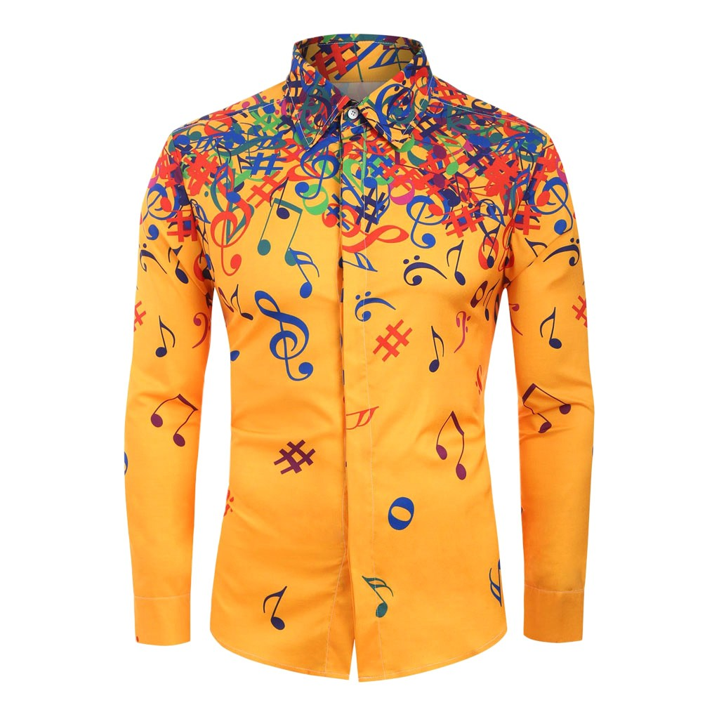 Free Shipping Men Casual Novelty Musical Note Pattern Casual Long Sleeves Shirt Top Blouse Best Gift Purchasing Hot Sale Fashion