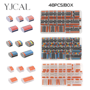 30/48PCS BOX Fast Wiring Connector Push-in Terminal Block Electrical Cage Spring Universal Household Combination Suit(China)