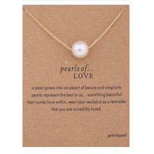 Fashion Imitation pearl Gold-color Pendant Necklaces Clavicle Chains necklace Message Card Necklace Women Wedding Jewelry