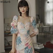 Woherb-Vestido corto femenino de verano con manga abombada y estampado Floral, minivestido Elegante con cuello cuadrado para mujer, 2021