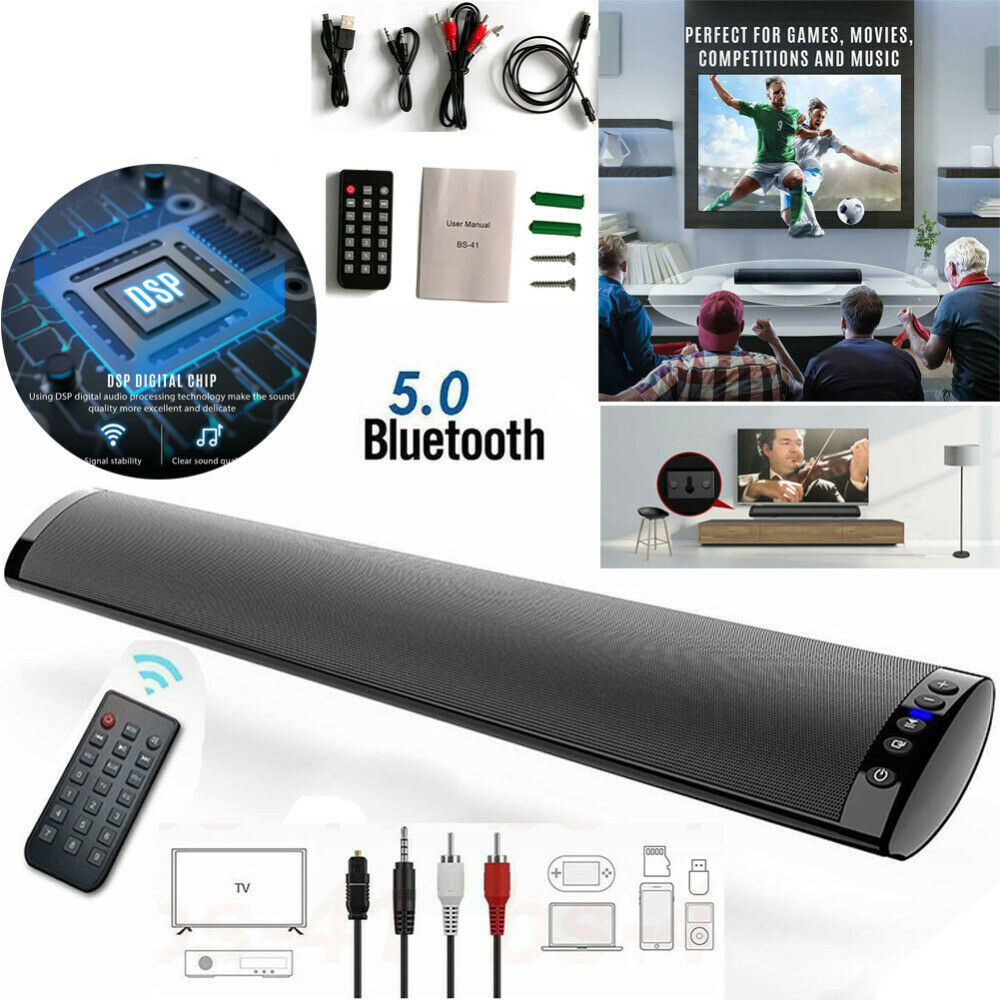 USB TV Sound Bar with Remote Control Wireless Bluetooth 5.0 Home Audio 3D Subwoofer Surround SoundBar for PC Theater TV Speaker