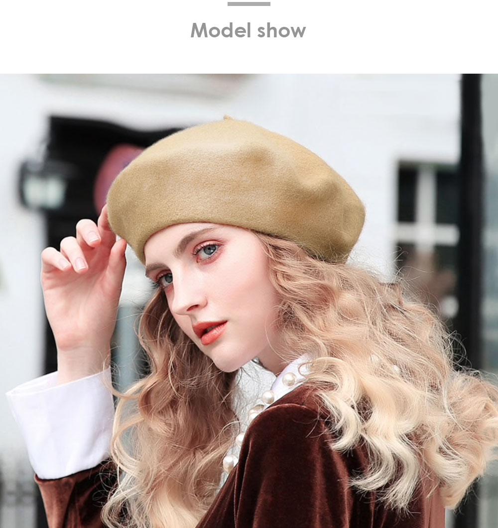 Elegant Lady Women Wool Felt Warm French Classic Beret Beanie Slouch Hat Cap Tam 30