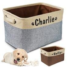 Personalisierte Haustier Hund Spielzeug Lagerung Korb Hund Leinwand Tasche Faltbare Pet Spielzeug Leinen Lagerung Box Bins Hund Zubehör Pet Liefert