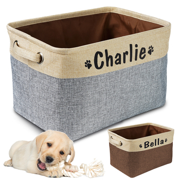 Personalized Pet Dog Toy Storage Basket Canvas Bag Foldable Toys Linen Box Bins Accessories Supplies