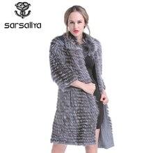2019 リアルシルバーフォックスファーコート毛皮のコート女性ニット春本物の毛皮のオーバー女性のための高級プラスサイズ