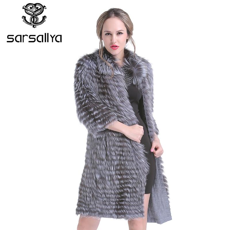 Real Silver Fox Fur Coat Women Long Natural Fur Coat Female Knitted Spring Genuine Fur Overcoat