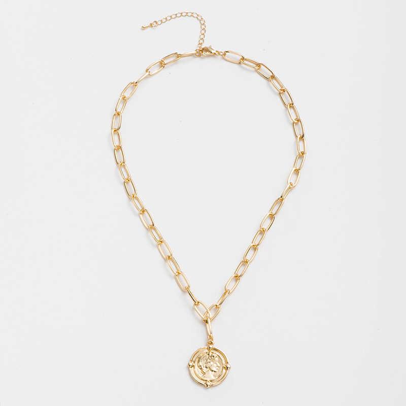 حمى و الحرة عملة مجوهرات أنيقة المرأة خمر قلادة قلادة نقش ميدالية صورة عقد ذهب يسوع الصليب مجوهرات هدية