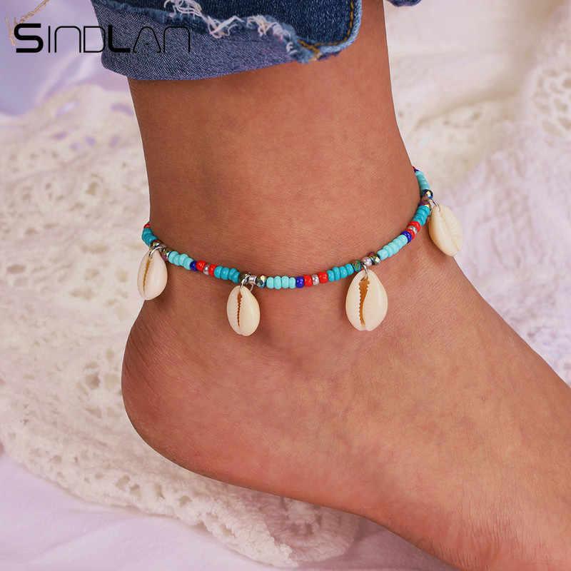 Sindlan etnik renkli boncuklar doğal kabuk ayak bilezik kadınlar için Bohemia ayak bileği yalınayak bacak bilezikler halhal zincir takı