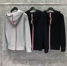 2021 moda tb thom marca listrado roupas com capuz jaqueta de algodão das mulheres dos homens moletom hoodies cardigans casual casaco esportivo