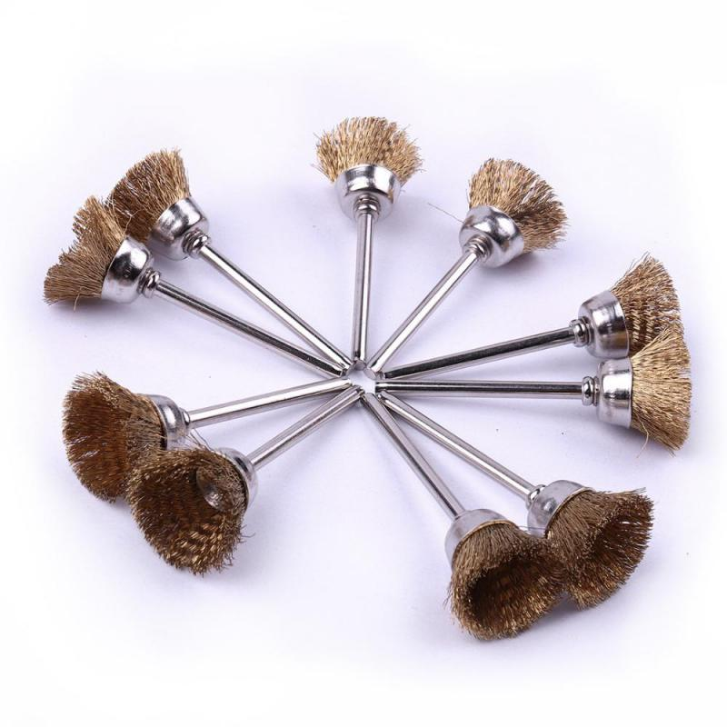 20 X16mm Brass Wire Wheel Brush Shank 3mm Fit For Dremel Grinder Rotary Tool