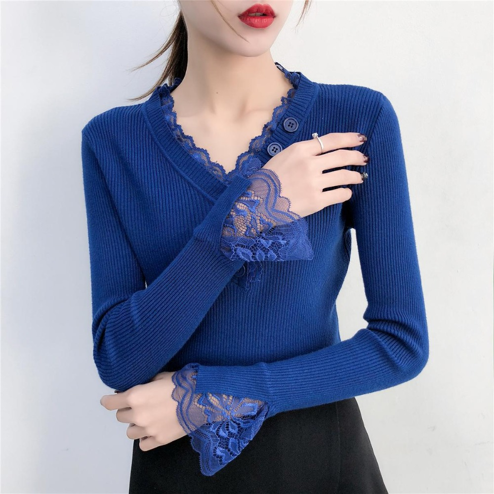 Elegant Lace V-Neck Blue Sweater For Women 2019 Spring New Pullovers Flare Sleeve Ladys Sweaters Women's Jumper Knit Pull Femme