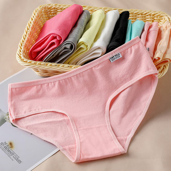 Hot Sale Women Solid Color Panties Breathable Cotton Low Waist Briefs Girls Candy Color High-Quality Soft Pure Cotton Underwear image