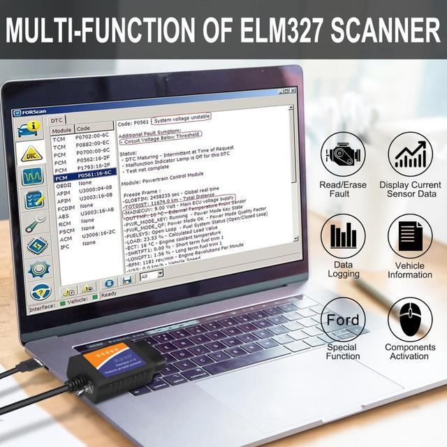 ELM327 OBD2 Scanner elm 327 USB v1.5 Bluetooth Code Reader Auto Diagnostic Scanner Tool Made for Forscan Automotive 3