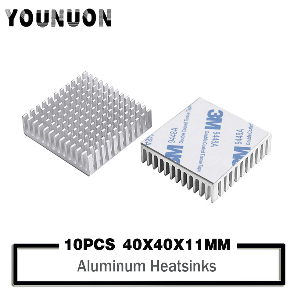 10pcs YOUNUON 40mm 40x40x11mm Aluminum Heatsink Heat Sink Radiator Cooling Cr For Electronic Chip IC LED With Thermal Conductive
