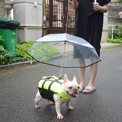 Teddy Bears Umbrella Raincoat Small Dog Transparent PE Pet Umbrella Rain Gear With Dog Leads Waterproof In Rain Snowing