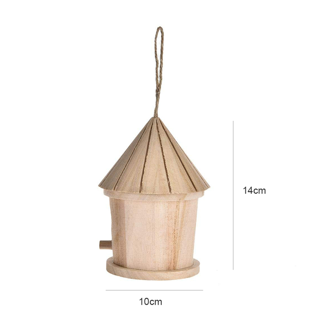 Wooden Hanging Bird House - Natural  2
