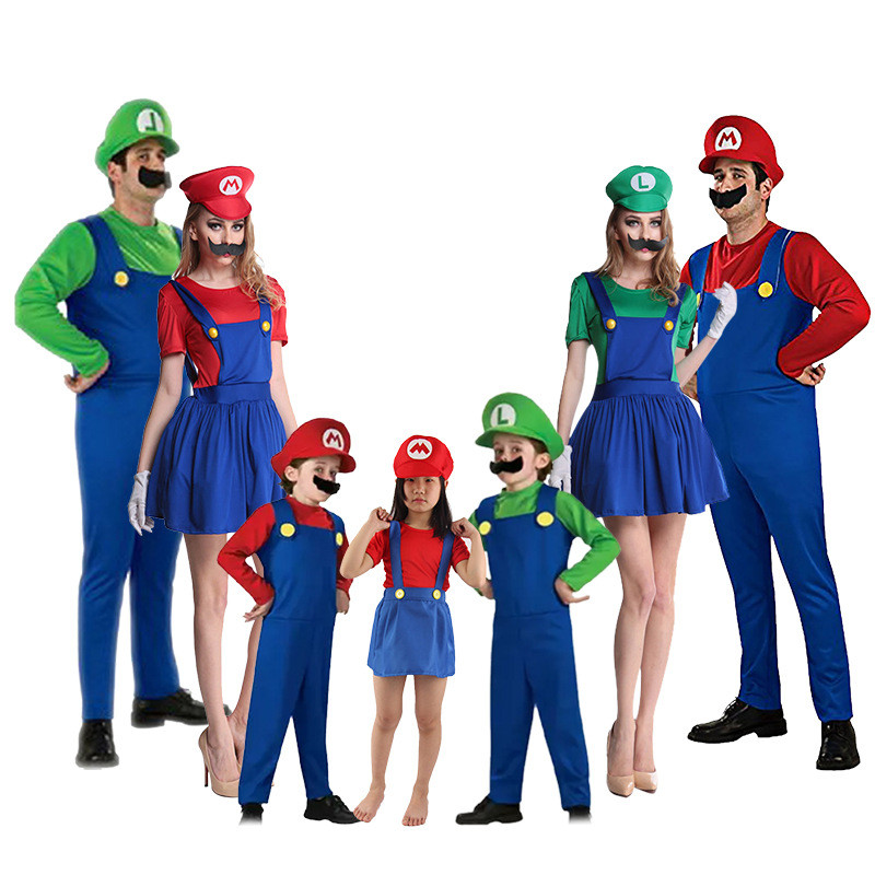 New Cartoon Game Super Mario Cosplay Costumes Plumber Luigi Bros Child Adult Family Dress Jumpsuits Halloween Christmas Suit