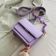 2020 Chain Design PU Leather Crossbody Bags for Women Purses and Handbags Fashion Mini Shoulder Messenger Bag Ladies Small Flap