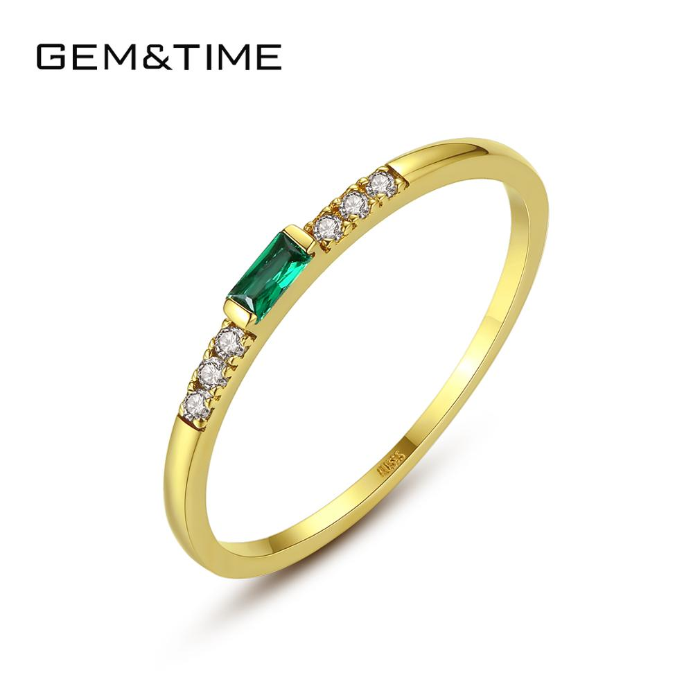 Gem&Time Luxury Real 14k Gold Rings Emerald Gemstone Rings For Women Engagement Wedding Band Yellow Gold 585 Fine Jewelry R14140