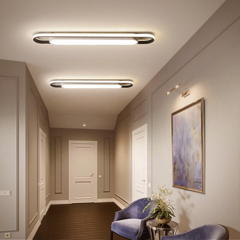 Современный минималистичный светодиодный потолочный светильник высокой яркости, прямоугольный черный/белый светильник для спальни