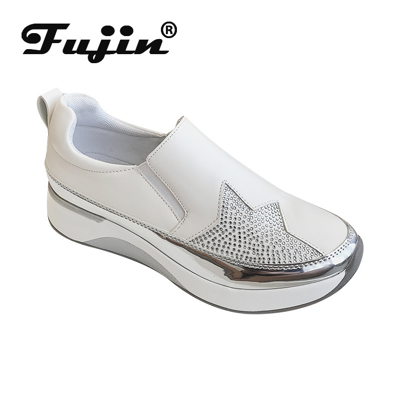 Fujin Sneakers Women Autumn Fashion Low Heels Round Toe Mesh Crystal Slip On Breathable Thick Bottom Leisure Women Shoes