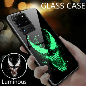 Venom Luminous Glass Case For Samsung Galaxy S20 Ultra S10 e 5G S9 S8 Note 10 9 8 Plus Black Panther Phone Luxury Cover(China)