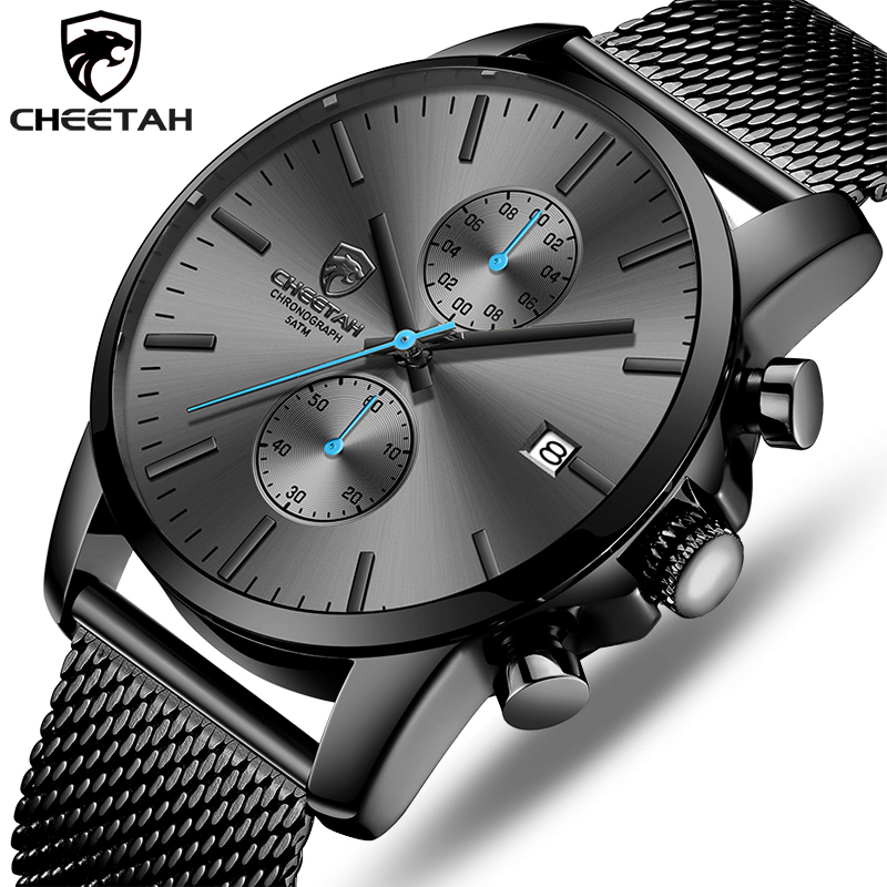 CHEETAH Mens Watches Top Luxury Brand Fashion Stainless Steel Business Men Watch Male Casual Sport Wristwatch Waterproof Clock