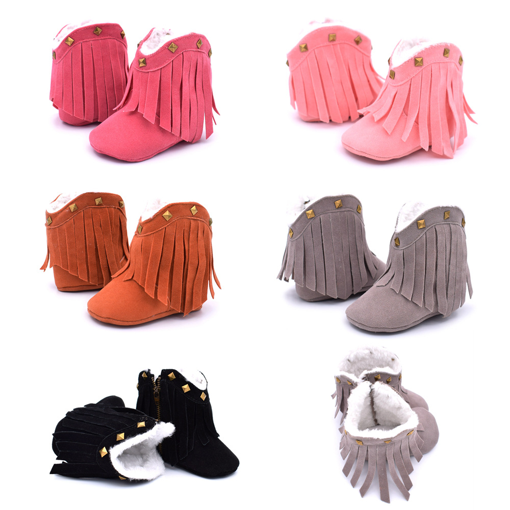 Baby Shoes Fringed Diamonds Men And Women Baby Sports Shoes Soft Bottom Non-slip Baby Boots