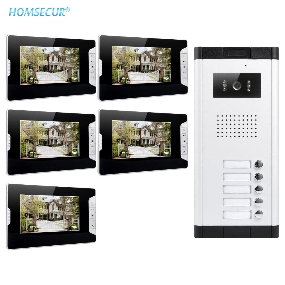 """HOMSECUR 4 ワイヤー 7 """"マルチアパートビデオ & オーディオホームインターホン + 700TVL ナイトビジョンカメラ/ フラット XC061 5 + XM703 B - title="""