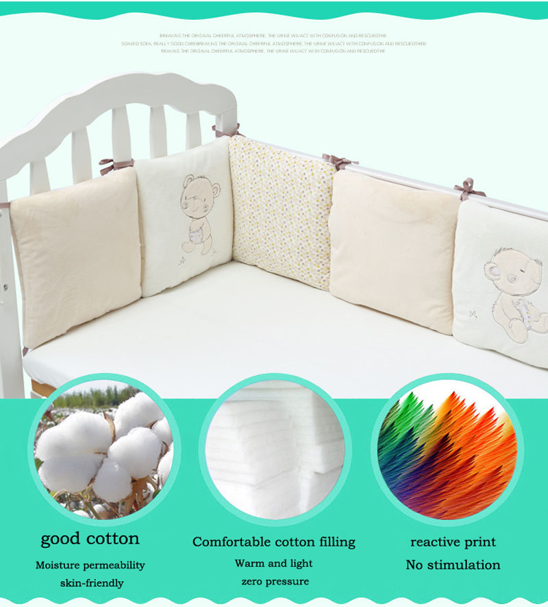 Children Infant Crib Bumper Bed Surround Protector Baby Kids Cotton Cot Nursery For Bear Bumper Boy And Girl Bedding 6 Pcs Plush
