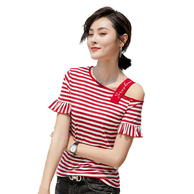 Women Summer High Fashion Skew Collar Flare Tassle Sleeve Embroidery Striped Cotton T Shirt Tops Female Sexy Personality Shirts