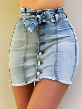 2020 Women Fashion Summer Button Design Fringe Hem Denim Skirt allover florals print fringe hem kimono