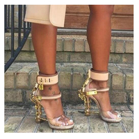 Kaeve Open Toe Padlock Spiked High Heels Transparent PVC Rihanna Style Crystal Sandal Rhinestones Party Wedding Shoes
