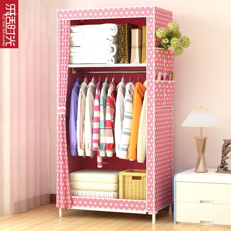 Simple Wardrobe Students Dormitory Single Person Small Closet Storage Organizing Storage Cabinets Economical Steel Tube Rough Cl