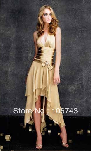Free Shipping 2016 New Fashion Brides Vestidos Robe De Soiree Formal Sexy Short Gold Chiffon Prom Gown Cocktail  Party Dresses