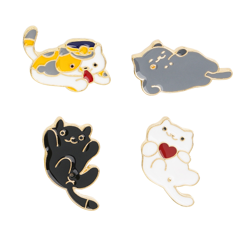 Fashion Creative 4 Style Enamel Pin Cute Mini Cat Metal Brooch Cartoon Funny Animal Brooches Denim Clothes Badge Pins Button