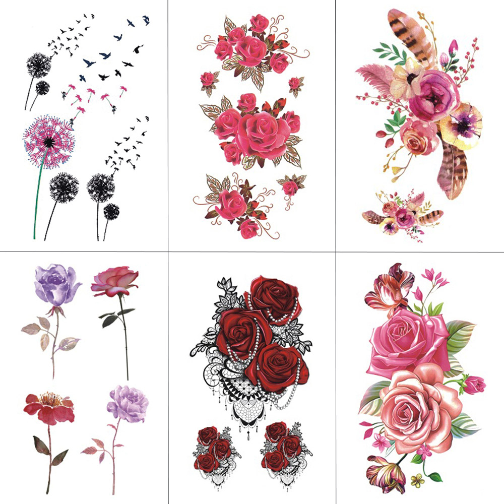 HXMAN Flower Temporary Tattoos For Women Hand Tattoo Sticker Fashion Sexy Body Art Waterproof Arm Fake Tatoo 10.5X6cm P-061