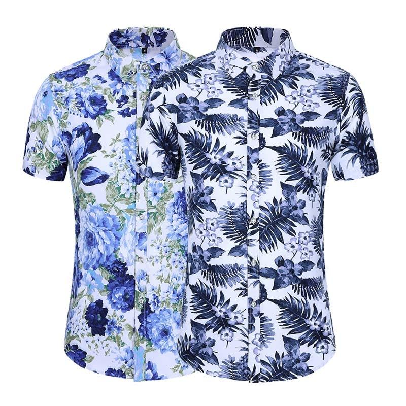 17 Styles Fashion Summer Mens Short Sleeve Hawaiian Shirts Casual Floral Shirt Regular Fit Vacation Beach Clothing 5XL 6XL 7XL 2