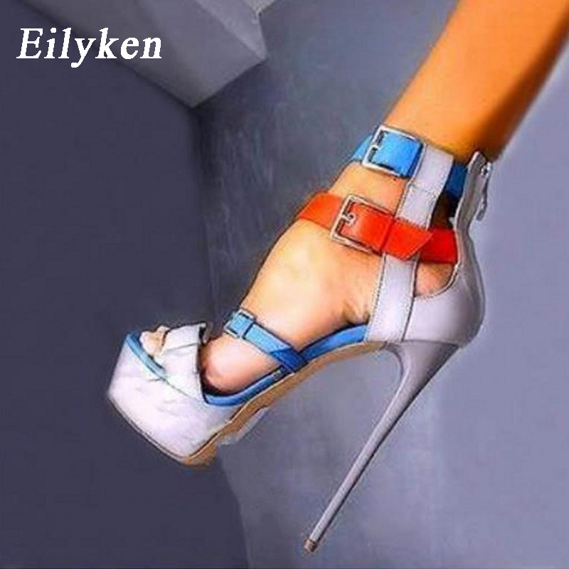 Eilyken 17.5cm Ultra High Heel Shoes Sexy Blue Stripper Shoes Party Pumps Summer Platform High Heel Sandals Ladies Shoes